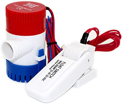 DAYDAY helper Automatic Submersible Small Boat Bilge Pump 1100GPH Mini Boat Bilge Pump with Float Switch Dc 12v 24v Kayak Rule Water Electric 1100 GPH Manual Marine (Voltage : 24V 500GPH)