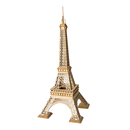 Hands Craft Eiffel Tower DIY 3D Wooden Puzzle Model Kit - Laser Cut Wooden Puzzle Craft Kit, Brain Teaser and Educational STEM DIY Building Model Toy (TG501)