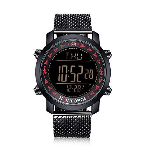 Reloj de Cuarzo para Hombre Reloj de Acero Inoxidable a Prueba de Agua con cronómetro-C