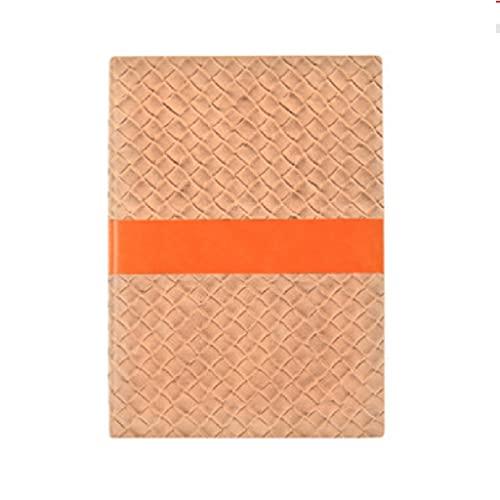 Cuaderno engrosado, diario creativo, retro, simple personalidad, trabajo, aprendizaje, piel tejida, bloc de notas, papelería, regalos (color oro)