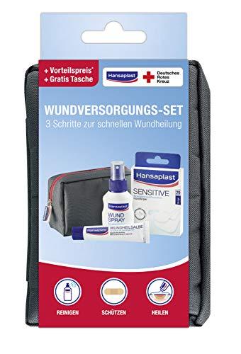 Hansaplast Routine Set, praktisches Set für zu Hause oder unterwegs, mit Wundspray, 20er-Set Sensitive Wundpflaster und Wundheilsalbe für eine schnelle Wundheilung