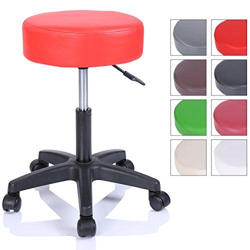 Rollhocker Arbeitshocker Hocker Drehhocker Kosmetikhocker Praxishocker höhenverstellbar mit Rollen, 360° drehbar, 10 cm Polsterfläche und 8 Farbvarianten (Rot)