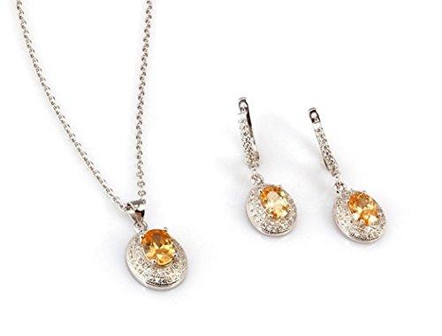 Plata de ley chapado en platino con creado Dorado y Blanco Juego De Neckace y pendientes de diamante