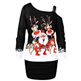 Huixin Weihnachten Kleid Damen Partykleider Elegant Weihnachtskleid Abendkleid Elegante Frauen Mode Bodycon Schulterfrei Schlinge Knielang Langarm Rockabilly Mini Kleider (Color : Schwarz, Size : S)