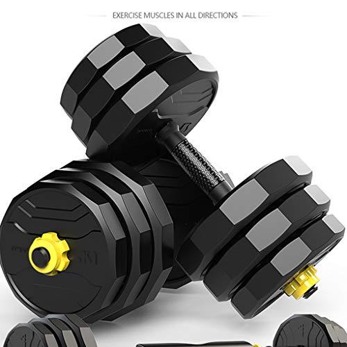 YUESFZ Hanteln Dumbbell Verstellbarer Gewichtsanzug Für Haushaltsmänner Abnehmbare Fitness-Langhantel Zwölfeckige Gummihantel 10 Kg / 20 Kg / 30 Kg / 40 Kg (Color : Black+Yellow, Size : 5KG*2)