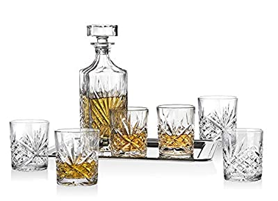 Dublin Whiskey Bar Set - Includes Whisky Decanter, 6 Old Fashioned Tumbler Glasses and Mirrored Display Tray