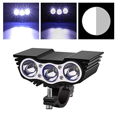 Biqing 30W Linterna LED Luz Delantera para Bicicleta, 3LED Foco para Bicicleta Faro Delantero Universal para Moto 12V 24V Foco LED Luz Auxiliar IP67 para Bicicleta, Motocicleta, Coche Eléctrico