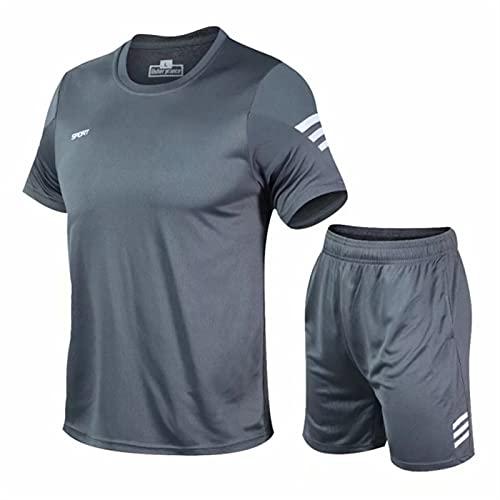DDBAKT 2 unids/set hombres chándal gimnasio fitness bádminton deportes traje ropa correr deporte deporte ejercicio conjunto, gris, XXX-Large