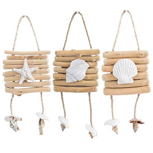 NONE Mediterrane Hängende Hölzer Hängen Muschel Wanddekoration Nautischen Ozean Stil Muschel Stern Muschel Ornament 3Pcs Weiß