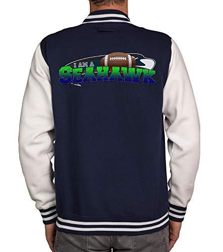 shirtdepartment - Herren College Jacke - Seahawk - Emerald City dunkelblau-I-am-a-Seahawk XL