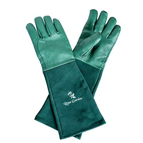ACE Gartenhandschuhe Damen & Herren Lang I Rosenhandschuhe Dornenfest Lang I Lederhandschuhe Arbeit Garten I Leder Handschuhe Lange Stulpe I Gr. 10 (XL) Xtra-Large