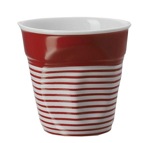 Revol RV646078 Tasse Cappuccino Froissé, Porcelaine, Blanc/Rouge, 8,5 x 8,5 x 8,5 cm
