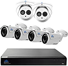 Montavue 4K Surveillance System with 6 4MP IP Security Cameras, Audio Camera Package with HypeIR 200ft Night Vision & Color Night Optics - MTIP80824B2T