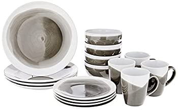 American Atelier Round Dinnerware Sets   Charcoal Kitchen Plates Bowls and Mugs   16 Piece Stoneware Oasis Collection 10.5 x 10.5   Dishwasher & Microwave Safe   Service for 4