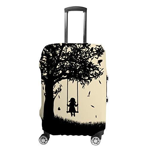 Kofferschutzhülle Elastisch Gepäck Cover Luggage Cover Kratzfest und staubdicht Reisekoffer Hülle Kofferschutz Kofferhülle für 18-32 Zoll Koffer,Silhouette des Mädchens auf Schaukel XL