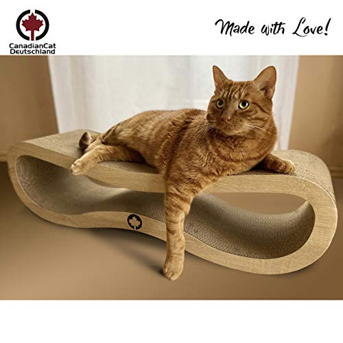 CanadianCat Company ® | Orbit | 84 X 24 X 23cm | Kratzmöbel, Kratzbrett | XXL Kratzpappe für Katzen + Katzenminze | Naturholzoptik Kratzkarton für Katzen