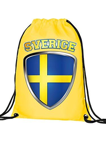 Schweden Sverige Sweden Fan Artikel 3201 Fuss Ball Turn Sport Beutel Unisex WM 2022 Flagge Fahne Kinder Kids Junge Mädchen Football World Cup Gelb