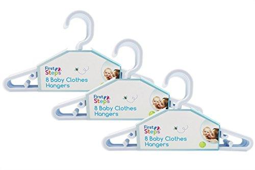 First Steps - Paquete de perchas para ropa de bebé (8, 16, 24 o 32 unidades), color rosa, blanco o azul blanco blanco Talla:pack de 24