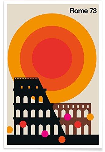 """JUNIQE® Retro Rom Poster 60x90cm - Design """"Rome 73"""" entworfen von BO Lundberg"""