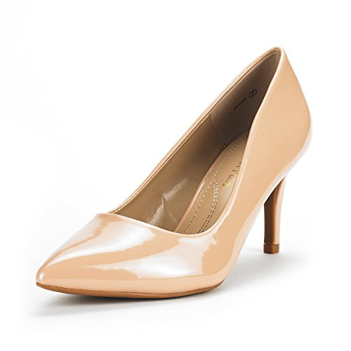 DREAM PAIRS Women's KUCCI Nude Pat Classic Fashion Pointed Toe High Heel Dress Pumps Shoes Size 7 M US