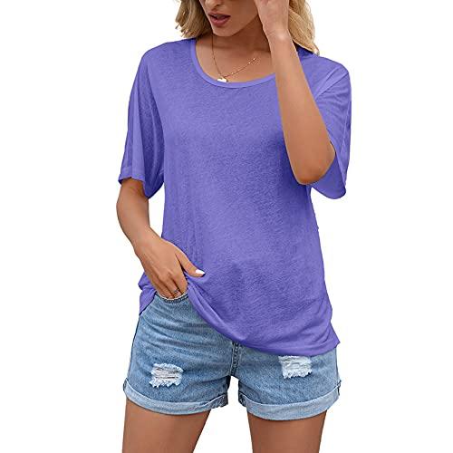 FrüHling Und Sommer Frauen LäSsig Pullover Loose Round Neck Kurzarm RüCken Sexy Hollow Lace NäHte Top T-Shirt Frauen