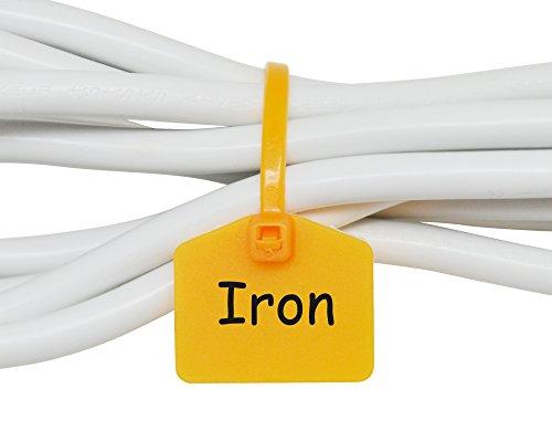 Mr-Label 110 mm Nylon Kabel Kabelbinder Tags Etiketten Marker - schreiben auf | selbstsichernd - mit frei bedruckbaren Etiketten - zum Markieren und Organisieren von Kabeln (100, Gelb)