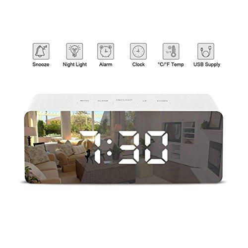 Patasen Digital-LED-Spiegel-Wecker-batteriebetriebene Uhr-Temperatur-Nachtlichter für...