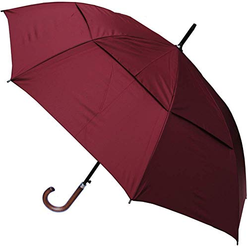 COLLAR AND CUFFS LONDON - Windproof EXTRA STRONG - StormDefender City Umbrella - Vented Canopy - Auto - Wood Handle - Navy Blue