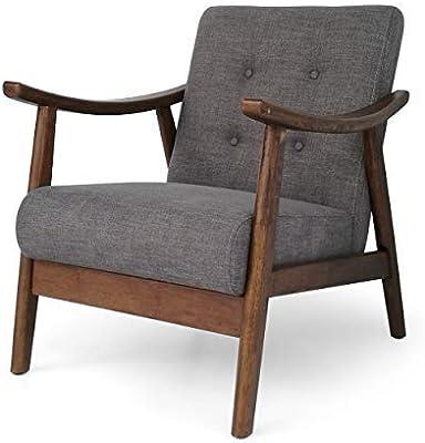 Christopher Knight Home Aurora Mid-Century Modern Accent Chair, Dark Gray + Brown