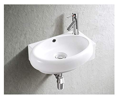 Art-of-Baan® - Design Eckschale Eckwaschbecken Waschbecken Rund, 400x280x120mm in weiß, mit Lotus Effekt - Handwaschbecken, Waschschale (3052)