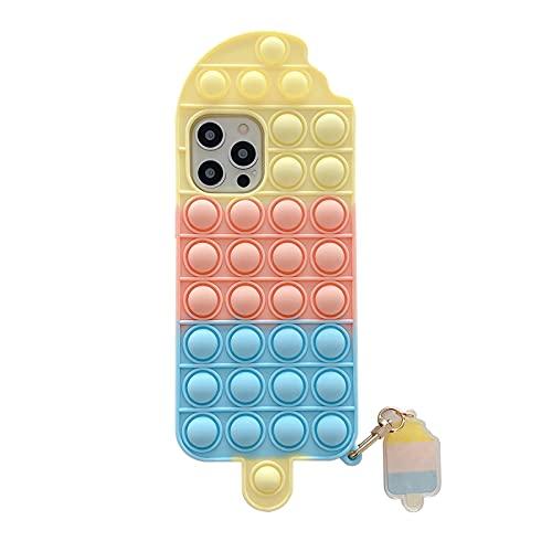 Ozlice - Custodia in silicone per iPhone 6/6s/7/8/Se2020, iPhone 6/6s/7/8 Plus, Push Pop Bubble Sensory Fidget Toy Custodia per telefono Summer Ice Cream Rainbow Color (Tricolore, iPhone 7/8/Se2020)