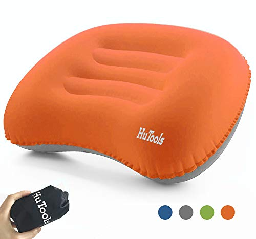 HuTools Inflatable Camping Pillow Backpacking Pillow Lightweight Compressible Travel Air Pillow Ultralight Ergonomic Pillow Portable for Camping with Neck & Lumbar Support (Orange)
