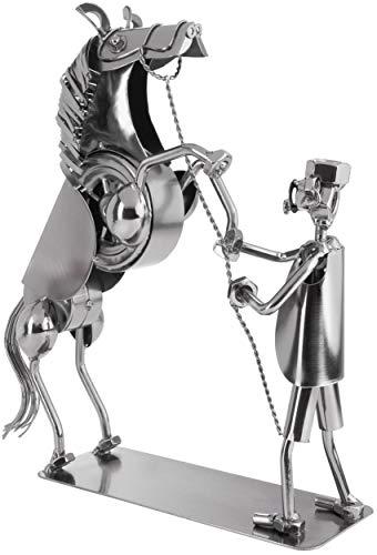 BRUBAKER Screw Man Horse On Two Legs - Figura de Hierro Hecha a Mano Hombre de Metal - Regalo de Figura de Metal para Jinetes, Jinetes, Criadores y Amantes de los Caballos