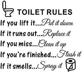 Bestjybt DIY Removable Toilet Rules Bathroom Decals Wall Quotes Stickers Vinly Art Decor Home product image