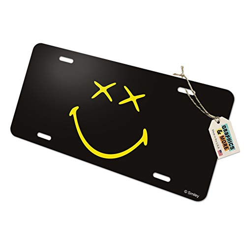 Graphics and More Smiley Smile Dead Happy Black Yellow Face Novelty Metal Vanity Tag License Plate