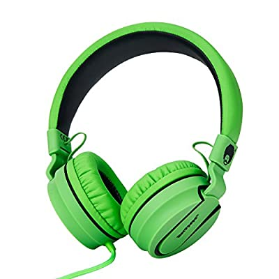 Rockpapa 952 Stereo Foldable Headphones On Ear, Adjustable Headband, with Microphone for Kids Childrens Adults, Tablet Computer Mobile CD/DVD MP3/4 Black Green by RockPapa Inc