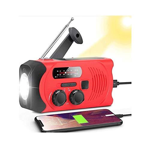 Sdesign Radio de manivela de la Mano de Emergencia, Radio Solar 2000mAh Banco de energía Radios con Cargador de teléfono y lámpara de Lectura LED, Am/FM, 3 métodos de Potencia (Color : Red)