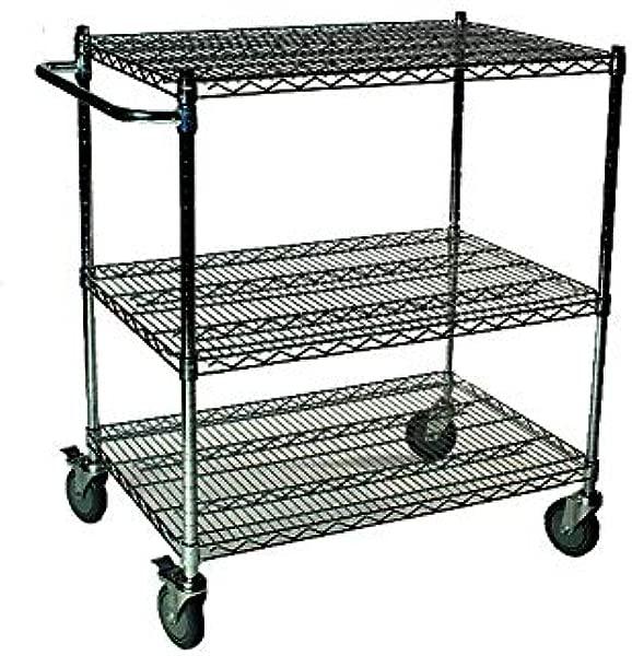 18 Deep X 42 Wide X 39 High 3 Tier Black Wire Shelf Cart
