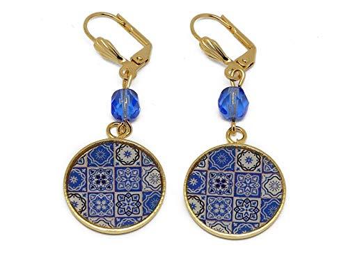 Pendientes Lisboa Azulejos latón oro 24 quilates azul blanco resina perlas regalos personalizados navidad amigos cumpleaños invitados boda ceremonia pareja mujer mamá