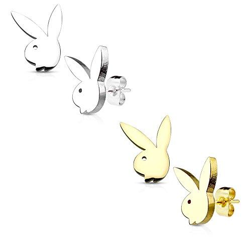 beyoutifulthings Damen 1 Paar Ohringe Ohr-ringe Set Ohr-stecker Edelstahl Chirurgenstahl Playboy-bunny gold silber