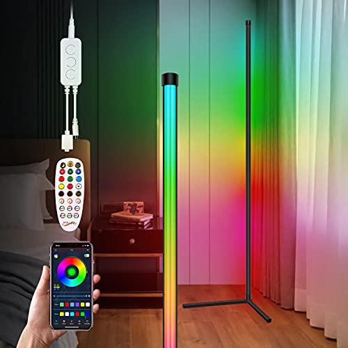 Yontune LED Stehleuchte Dimmbare mit Fernbedienung, Minimalistisches Ambiente Farbwechsel Stehlampe Bluetooth LED Stehlampe RGB Farbtemperaturen Ecklampe für modernes Wohnzimmer mit Heimtextilien