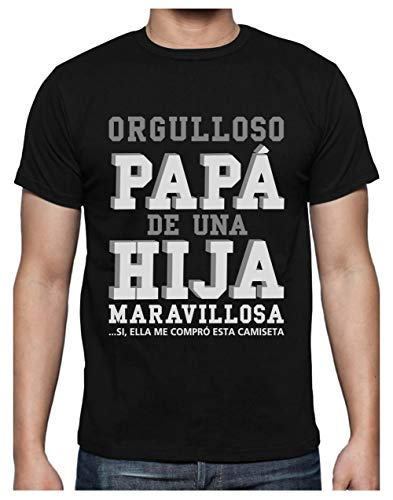 Green Turtle T-Shirts Camiseta para Hombre - Regalos para Hombre, Regalos para Padres. Camisetas Hombre Originales y Divertidas - Orgulloso Papá de una Hija Maravillosa Large Negro