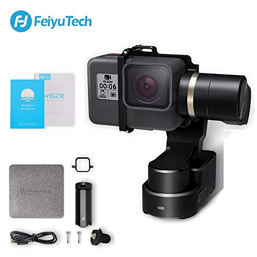 FeiyuTech Feiyu WG2X - Stabilizzatore cardanico impermeabile indossabile con mini treppiede, action camera Gimbal compatibile con GoPro Hero 7/6/5/4/Session qualsiasi fotocamera di dimensioni simili