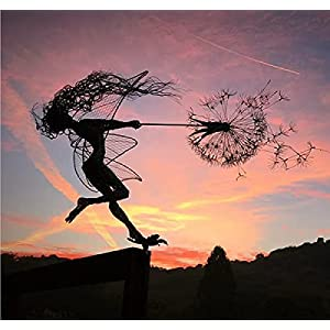 garden fairy decoration stake metal fairy stick ornaments elf silhouette metal yard art fairy dancing with dandelion for outdoor yard patio lawn decoration 2pack