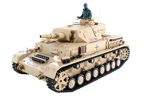 RC Auto kaufen Kettenfahrzeug Bild: XciteRC 35511000 Ferngesteuerter RC Panzer Modellpanzer DAK Kampfwagen IV F-1 - Ready to Race Sound and Smoke 1:16, braun*