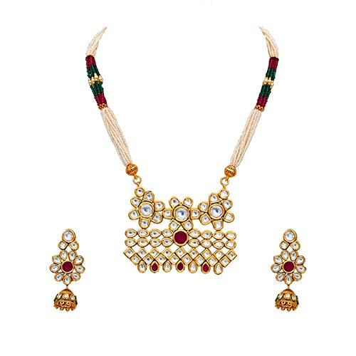 JewelryGift Gorgeous Long Necklace with Jhumki Earrings 18K Gold Plated Kundan, Ruby, Pearl Handcrafted Modern Fashion Jewellery for Women and Girls