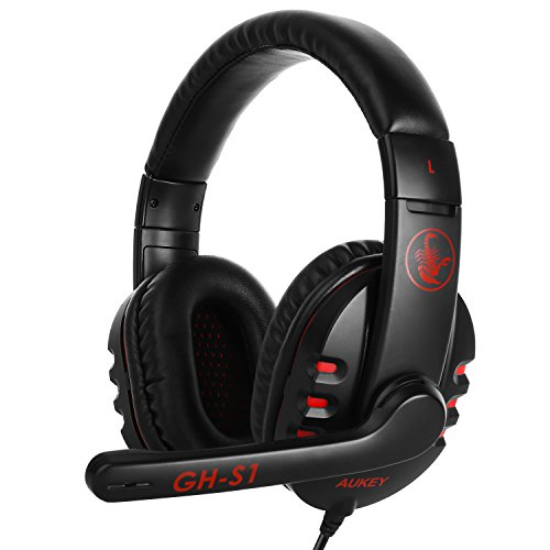 AUKEY Gaming Headset 40mm Hi-Fi Stereo Lautsprecher Gaming Kopfhörer mit Mikrofon Geräuschunterdrückung , 2.5m Aux-Control Kabel für PS4 PC Laptop usw. ( Rot und Schwarz )
