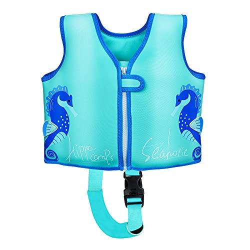 Wenlia Gilet de natation pour enfant - Hippocampe - Gilet de flottabilité solide - Idéal pour la natation et le bain - Bleu