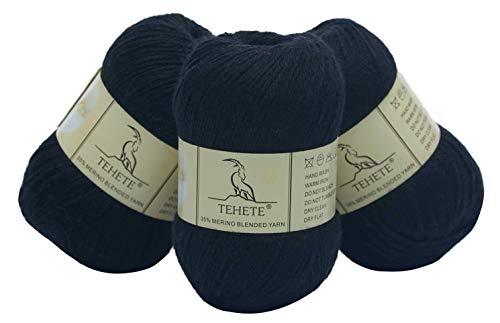 TEHETE Ovillo de lana, Hilados lana merino, 3 Bolas x 50g, Hilo para manta,suéter calcetín, bufanda, diy, ganchillo y tejido-Negro