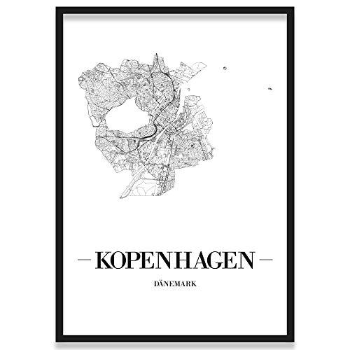 JUNIWORDS Stadtposter, Kopenhagen, Wähle eine Größe, 21 x 30 cm, Poster mit Rahmen, Schrift A, Weiß